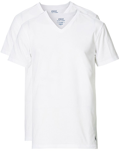 Polo Ralph Lauren 2-Pack T-Shirt V-Neck White i gruppen Klær / T-Shirts hos Care of Carl (10296211r)