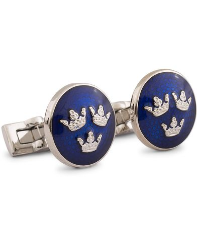 Skultuna Cuff Links Tre Kronor Silver/Royal Blue  i gruppen Assesoarer / Mansjettknapper hos Care of Carl (10530110)