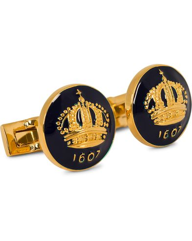 Skultuna Cuff Links The Crown Gold/Royal Blue  i gruppen Assesoarer / Mansjettknapper hos Care of Carl (10531810)