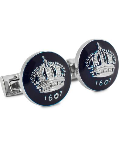 Skultuna Cuff Links The Crown Silver/Royal Blue  i gruppen Assesoarer / Mansjettknapper hos Care of Carl (10532910)