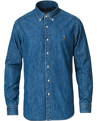 Polo Ralph Lauren Custom Fit Shirt Denim Dark Wash i gruppen Klær / Skjorter / Casual / Jeansskjorter hos Care of Carl (10976511r)
