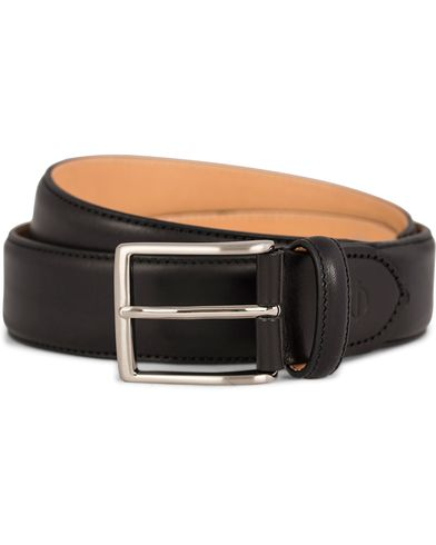 Oscar Jacobson Leather Belt 3,5 cm Black i gruppen Assesoarer / Belter / Umønstrede belter hos Care of Carl (10998711r)