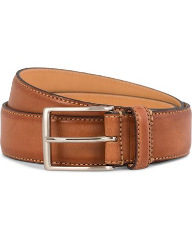 Oscar Jacobson Leather Belt 3,5 cm Brown i gruppen Assesoarer / Belter / Umønstrede belter hos Care of Carl (10998811r)