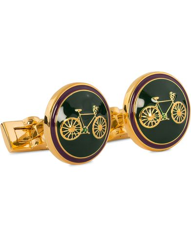 Skultuna Cuff Links Themocracy Gold/Racing Green  i gruppen Assesoarer / Mansjettknapper hos Care of Carl (11004010)