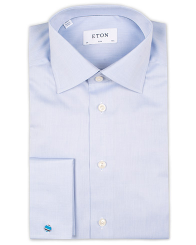 Eton Slim Fit Shirt Double Cuff Blue i gruppen Klær / Skjorter / Formelle / Businesskjorter hos Care of Carl (11272211r)