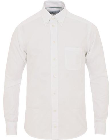 Eton Slim Fit Shirt Green Ribbon Oxford White
