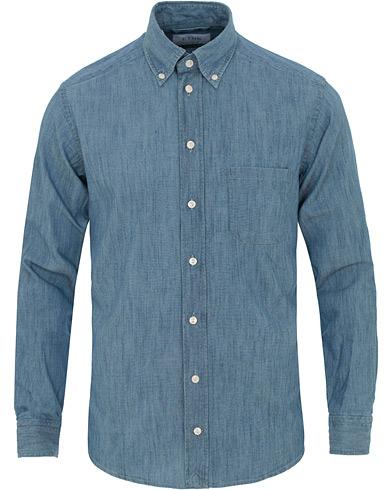 Eton Slim Fit Shirt Green Ribbon Denim Blue