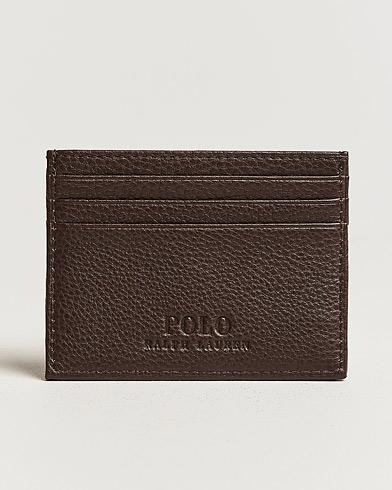 Polo Ralph Lauren Pebble Leather Slim Card Case Brown