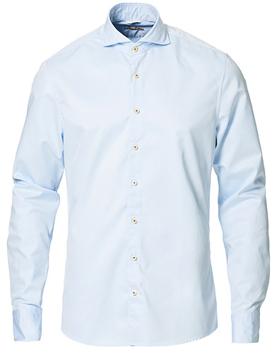 Stenströms Slimline Washed Cotton Plain Shirt Light Blue i gruppen Klær / Skjorter / Casual / Casualskjorter hos Care of Carl (11557411r)