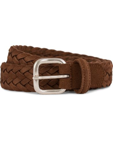 Anderson's Braided Suede Belt 3 cm Light Brown Silver Buckle