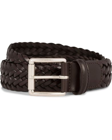 Anderson's Braided Leather Belt 3,5 cm Brown