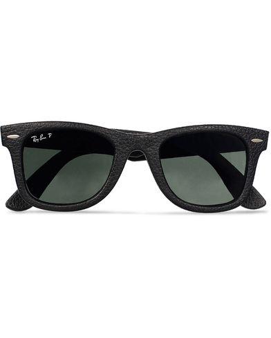 Ray-Ban Wayfarer Leather Polarized Sunglasses Black/Green