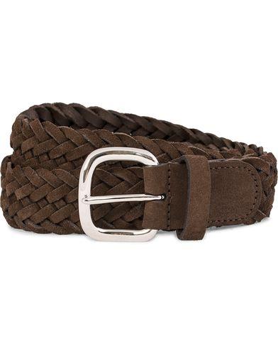 Anderson's Braided Suede Belt 3,5 cm Brown