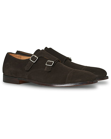 Crockett & Jones Lowndes Monkstrap Dark Brown Suede i gruppen Sko / Munkesko hos Care of Carl (12050011r)