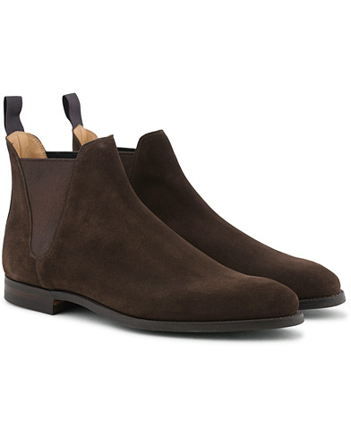 Crockett & Jones Chelsea 8 Boot Dark Brown Suede i gruppen Sko / Støvler hos Care of Carl (12051011r)