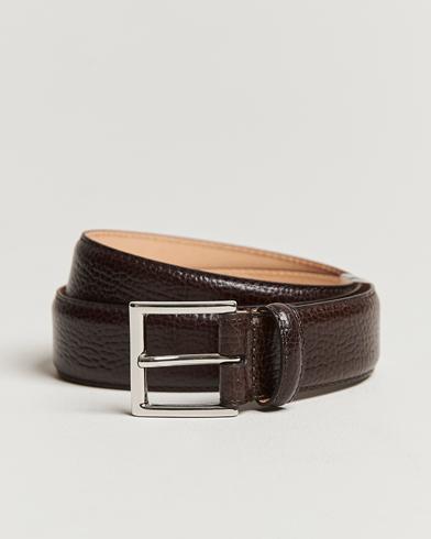 Crockett & Jones Belt 3,5 cm Dark Brown Grained Calf