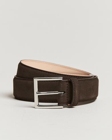 Crockett & Jones Belt 3,2 cm Dark Brown Suede