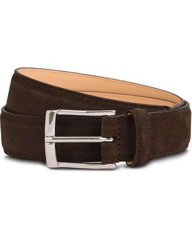 Crockett & Jones Belt 3,2 cm Dark Brown Suede i gruppen Assesoarer / Belter / Umønstrede belter hos Care of Carl (12051511r)