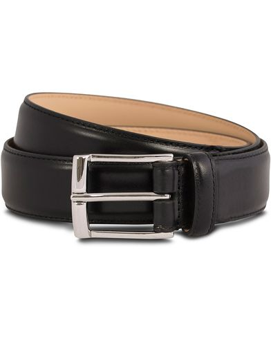 Crockett & Jones Belt 3,2 cm Black Calf i gruppen Assesoarer / Belter / Umønstrede belter hos Care of Carl (12051711r)