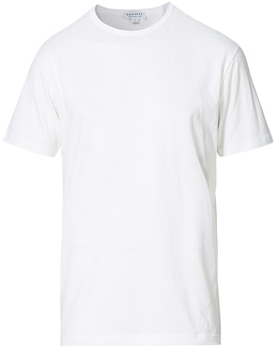 Sunspel Crew Neck Cotton Tee White i gruppen Klær / T-Shirts hos Care of Carl (12245111r)