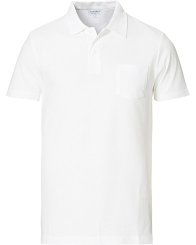 Sunspel Riviera Polo Shirt White i gruppen Klær / Pikéer / Kortermet piké hos Care of Carl (12245711r)