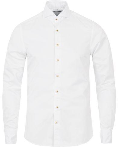 Stenströms Slimline Washed Cotton Plain Shirt White