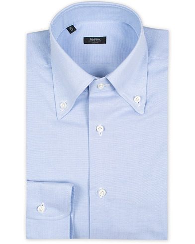 Barba Napoli Slim Fit Button Down Oxford Shirt Blue