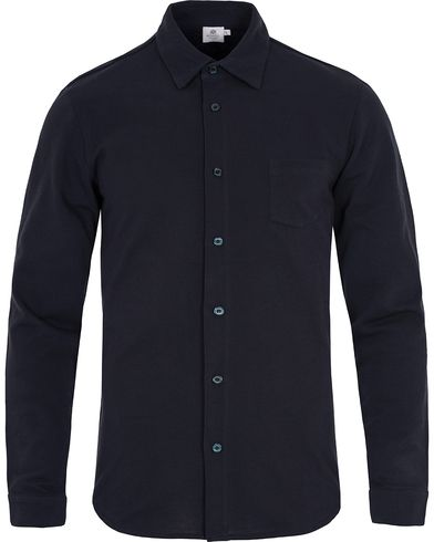Sunspel Long Sleeve Pique Shirt Navy i gruppen Klær / Skjorter / Casual / Pikéskjorter hos Care of Carl (12416911r)