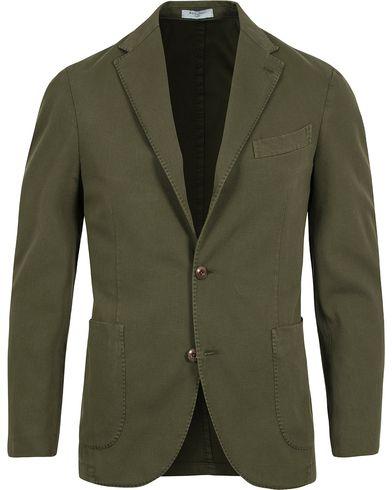 Boglioli Coat Patch Pocket Stretch Cotton Blazer Dark Green