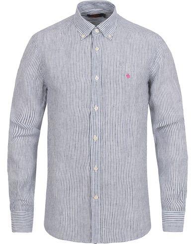 Morris Douglas Striped Linen Shirt Navy
