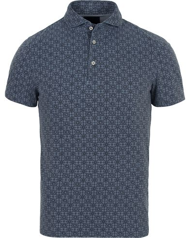 Gran Sasso Printed Washed Denim Polo Blue