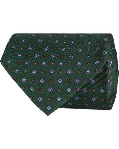 Oscar Jacobson Printed Medallion Silk 8,5 cm Tie Green