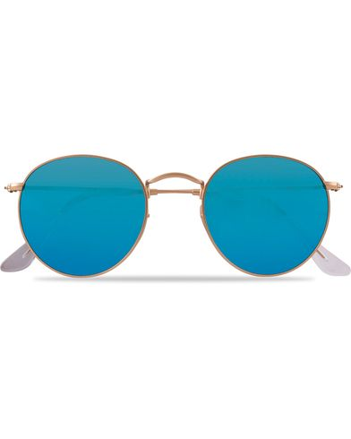 Ray-Ban 0RB3447 Polarized Round Sunglasses Matte Gold/Blue Mirror  i gruppen Assesoarer / Solbriller hos Care of Carl (12669310)