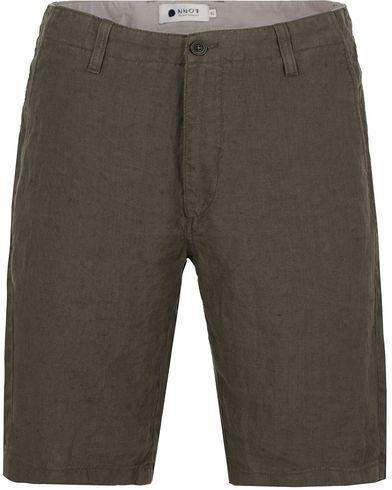 NN07 Simon Linen Shorts Green
