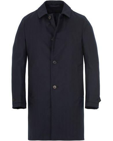 Aspesi Herringbone Wool Coat Dark Navy