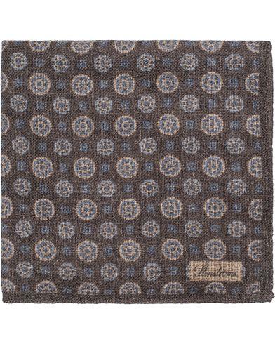Stenströms Medallion Wool Pocket Square Grey/Brown