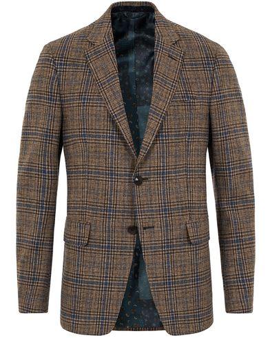 Etro Slim Fit Wool Check Blazer Medium Brown/Navy