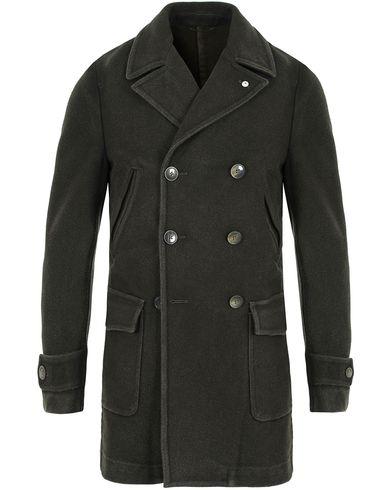 L.B.M. 1911 Wool Double Breasted Coat Dark Loden Green