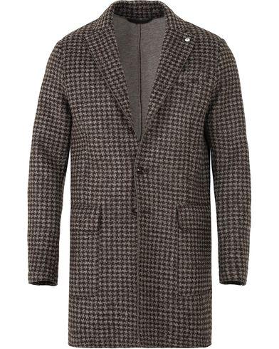 L.B.M. 1911 Wool/Jersey Houndstooth Coat Dark Brown