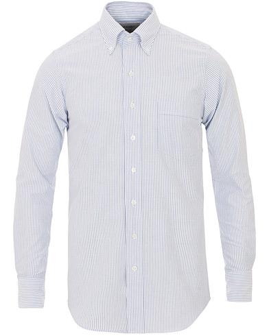 Drake's Slim Fit Oxford BD Stripe Shirt Blue