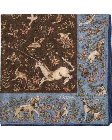 Drake's Unicorn Pocket Square Blue/Brown