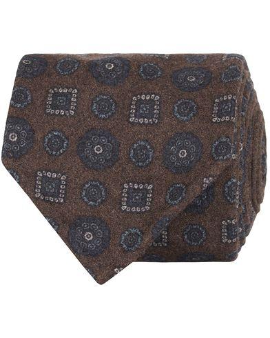 Drake's Medallion Wool/Flannel 8 cm Tie Brown