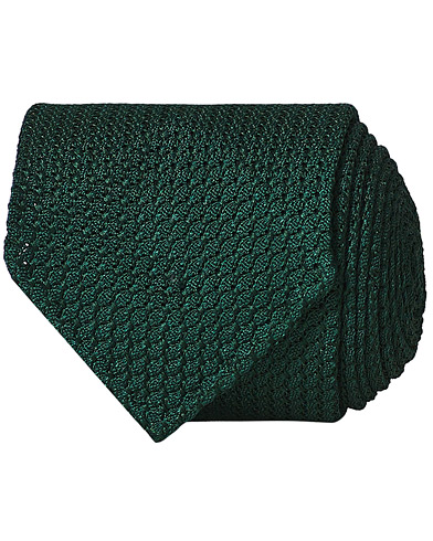 Drake's Silk Grenadine Handrolled 8 cm Tie Green  i gruppen Assesoarer / Slips hos Care of Carl (13083910)