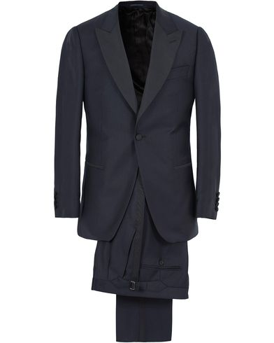 Gieves & Hawkes Peak Lapel Wool Dinner Suit Navy