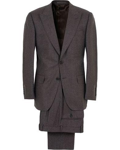 Gieves & Hawkes Peak Lapel Flannel Suit Charcoal