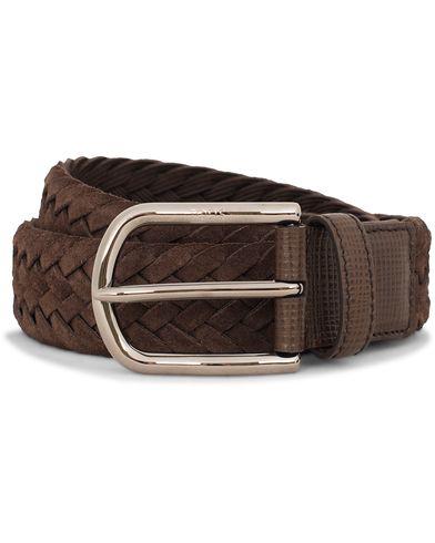 Tod's Intrecio Braided Suede 3,5 cm Belt Dark Brown