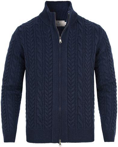 Hackett Cable Wool Full Zip Navy