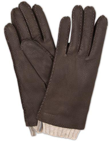 Hestra Tony Wool Lined Deerskin Glove Dark Brown