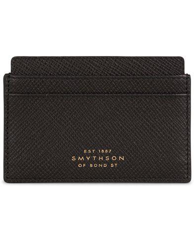 Smythson Panama Flat Card Holder Black Leather