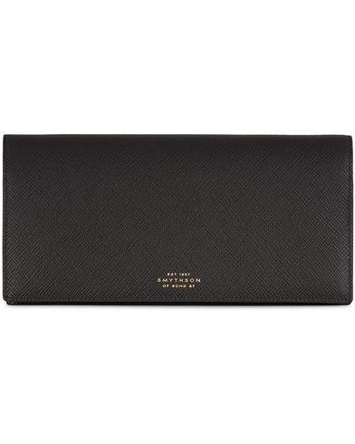 Smythson Panama Slim Travel Wallet Black Leather